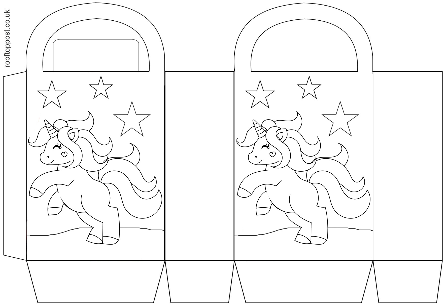 A printable party gift bag with a unicorn on the front for children to colour in.