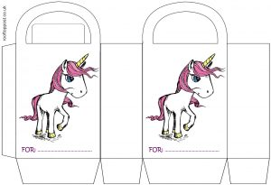 A pretty printable gift bag for children's parties, picturing a pink unicorn and with space to write the recipient's name.