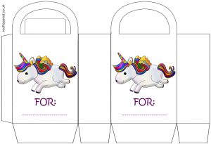 A printable party gift bag picturing a rainbow unicorn and with space to add a child's name.