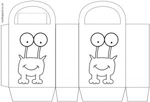 A printable party gift bag with a smiling monster on the front for children to colour in.