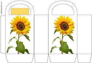 Printable party bag with a summer sunflower design.