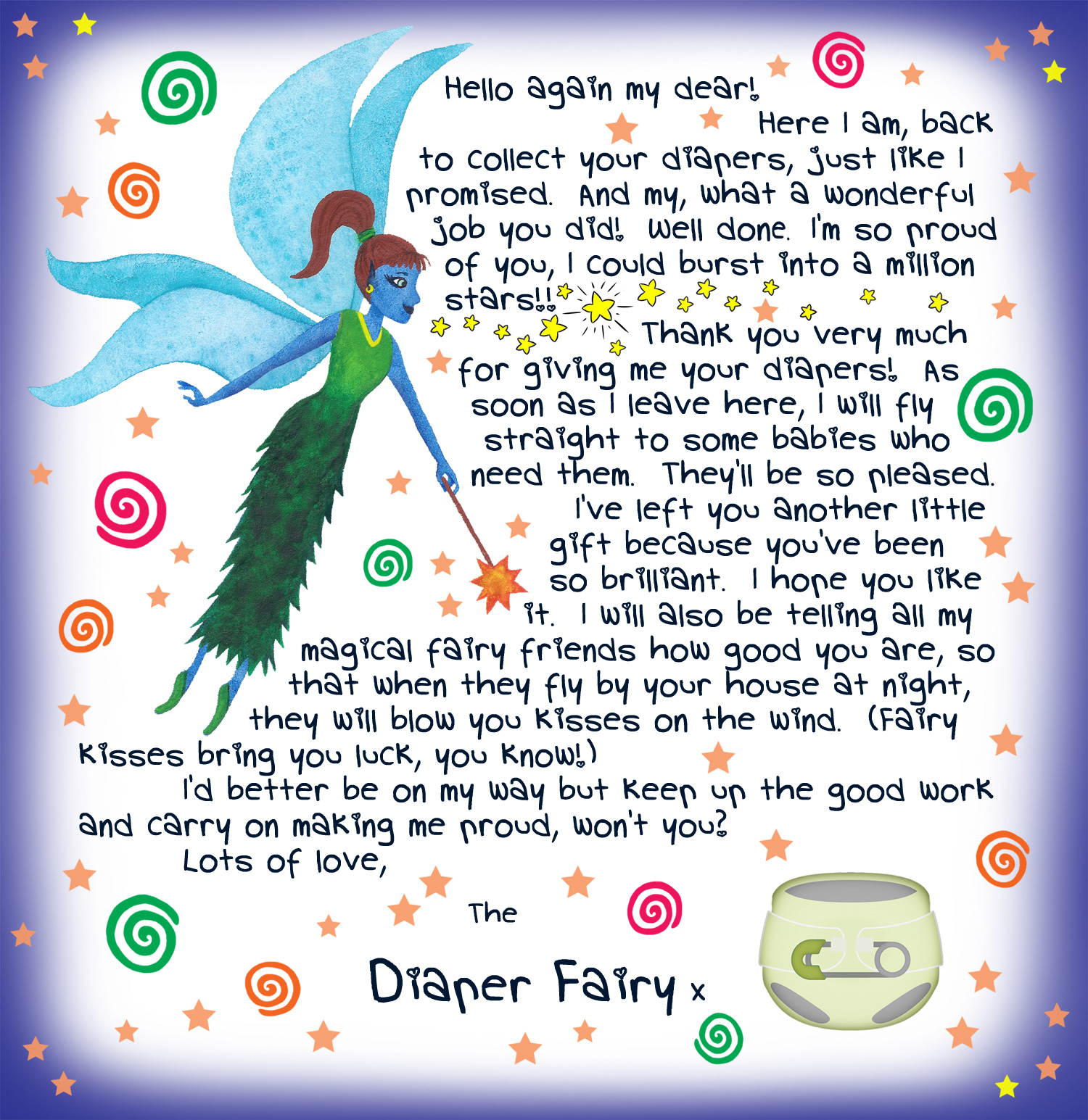 Second letter from the Diaper Fairy, free to print for your child.