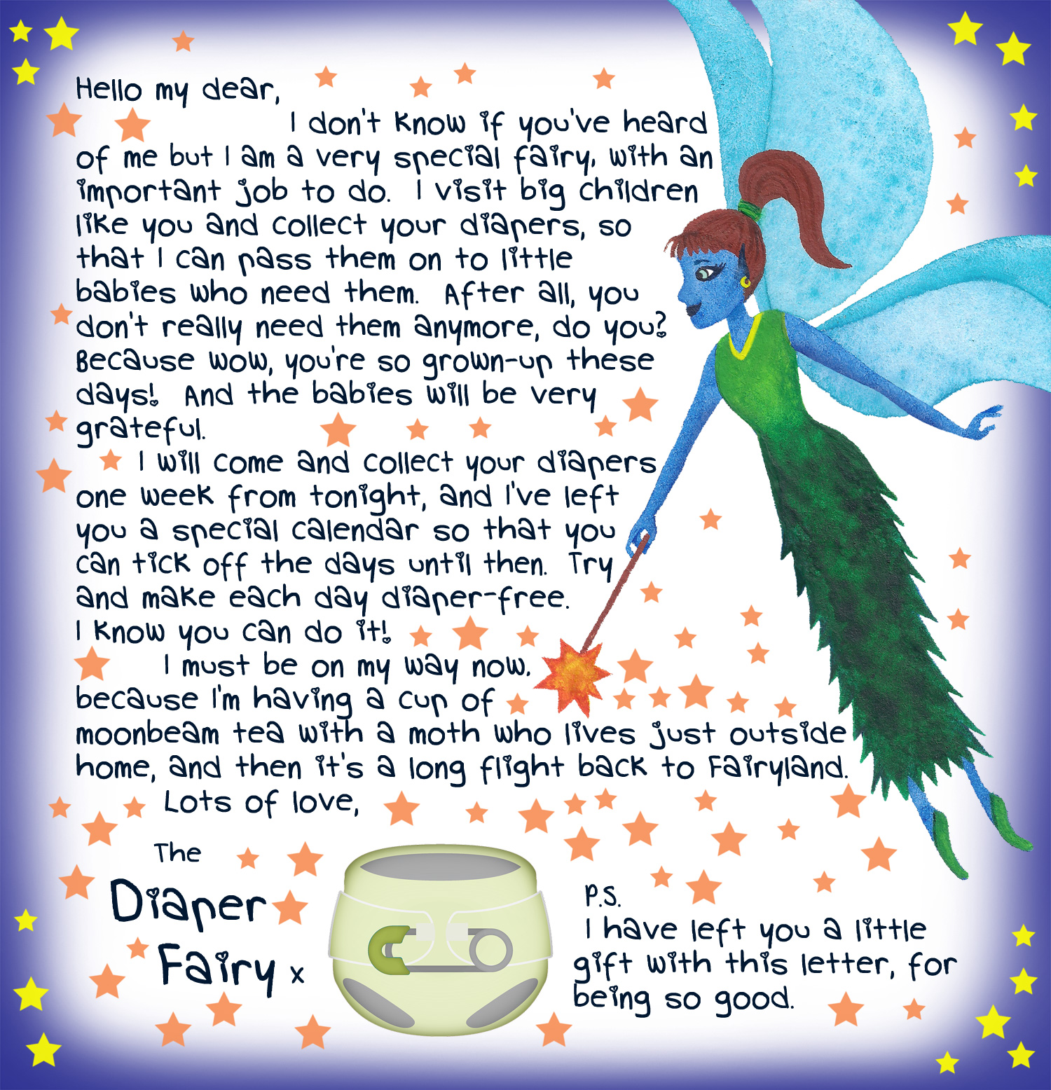 First letter from the Diaper Fairy, free to print for your child.