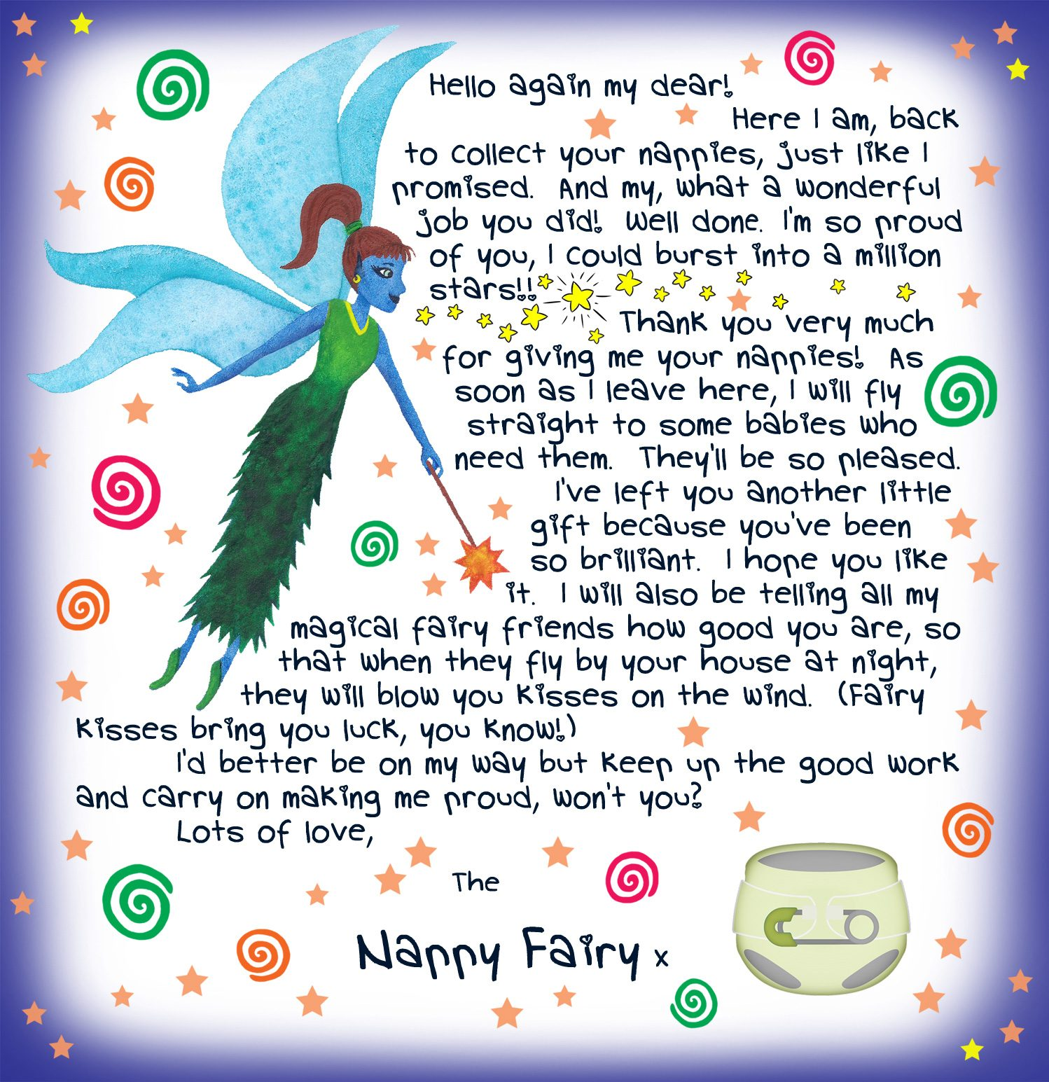 Second letter from the Nappy Fairy, free to print for your child.
