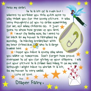 A note to a child from the Diaper Fairy, saying thank you for the picture.