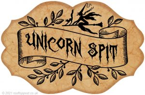 Printable witch's pantry label of unicorn spit as a fun decoration for Halloween