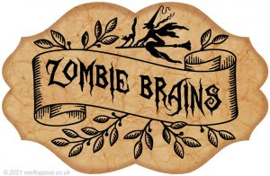 A free printable witch's potion pantry label for a jar of Zombie Brains! Great fun for decorating at Halloween.