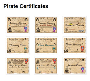 Our new selection of printable pirate certificates
