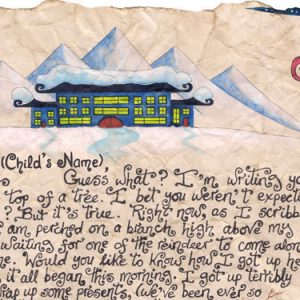 "Close up of the beginning of ""Father Christmas and the Witch's Broom"", a two page story-letter from Father Christmas."