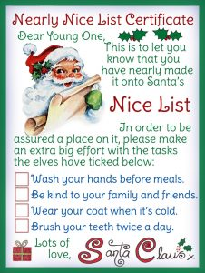 A certificate from the elves for a child who has nearly made the Nice List but not quite
