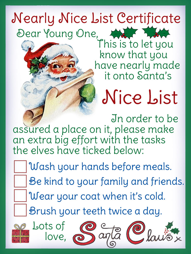 A Certificate From The Elves For Child Who Has Nearly Made Nice List But