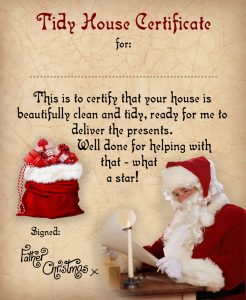 Certificate from Father Christmas saying well done for helping to tidy up your house.
