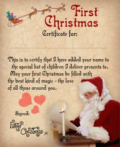 Baby's First Christmas Certificate from Santa