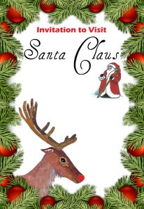 A decorative invitation to visit Santa Claus left blank for you to fill in