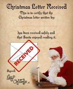 Certificate to let a child know their Christmas list has been received