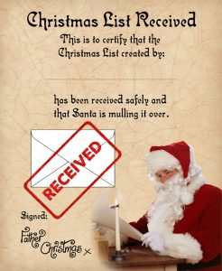 Certificate to let a child know Santa has received their Christmas list