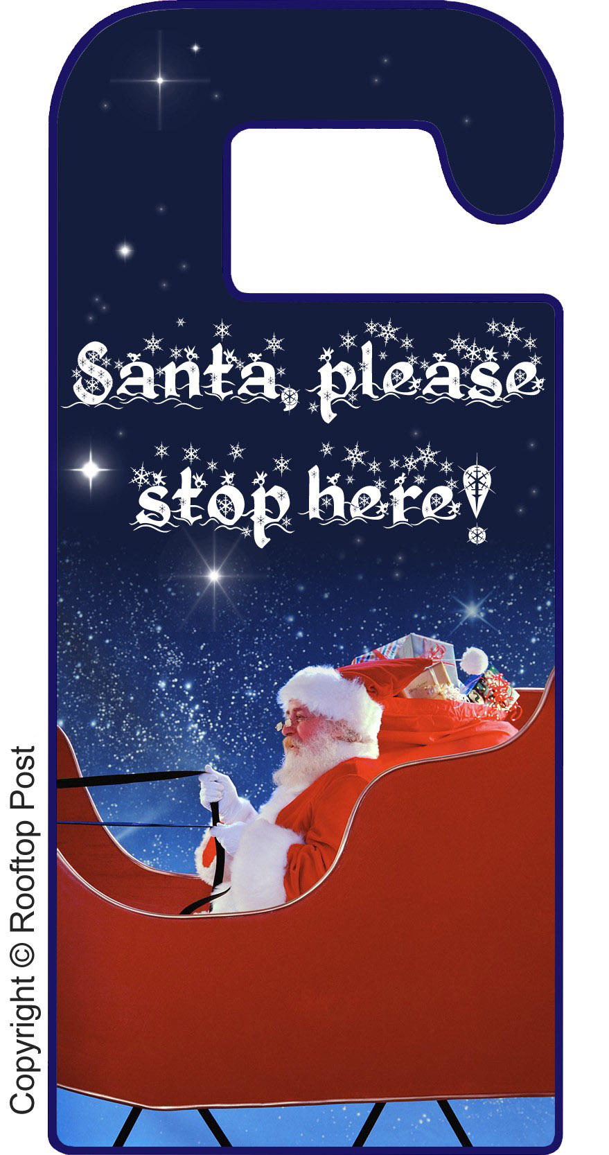 Printable door hanger for Christmas Eve asking Santa to please stop here