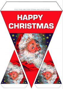 Printable decoration in the form of Father Christmas Bunting