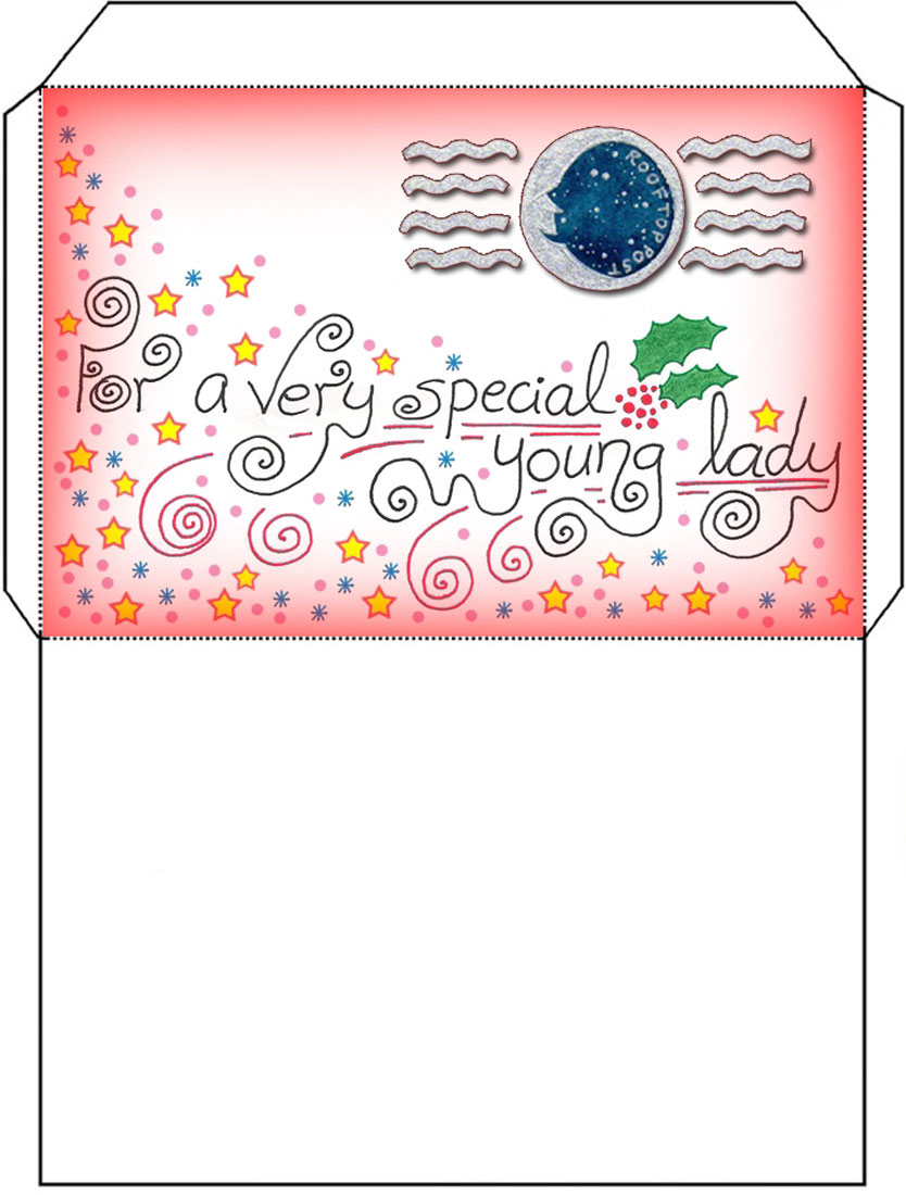 Father Christmas / Santa Letter Envelope for a Girl - Rooftop Post ...
