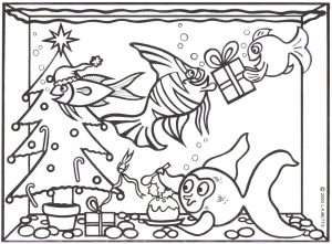 Colouring in picture of Christmas fish
