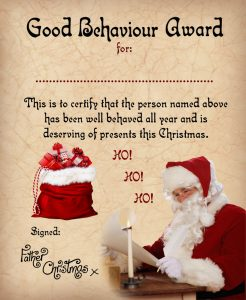 Magical, old-fashioned certificate of good behaviour to print from Father Christmas
