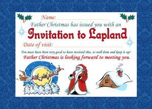 Invitation from Father Christmas to visit him in Lapland.