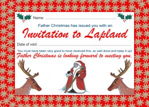 Printable invitation to Lapland from Father Christmas - landscape design