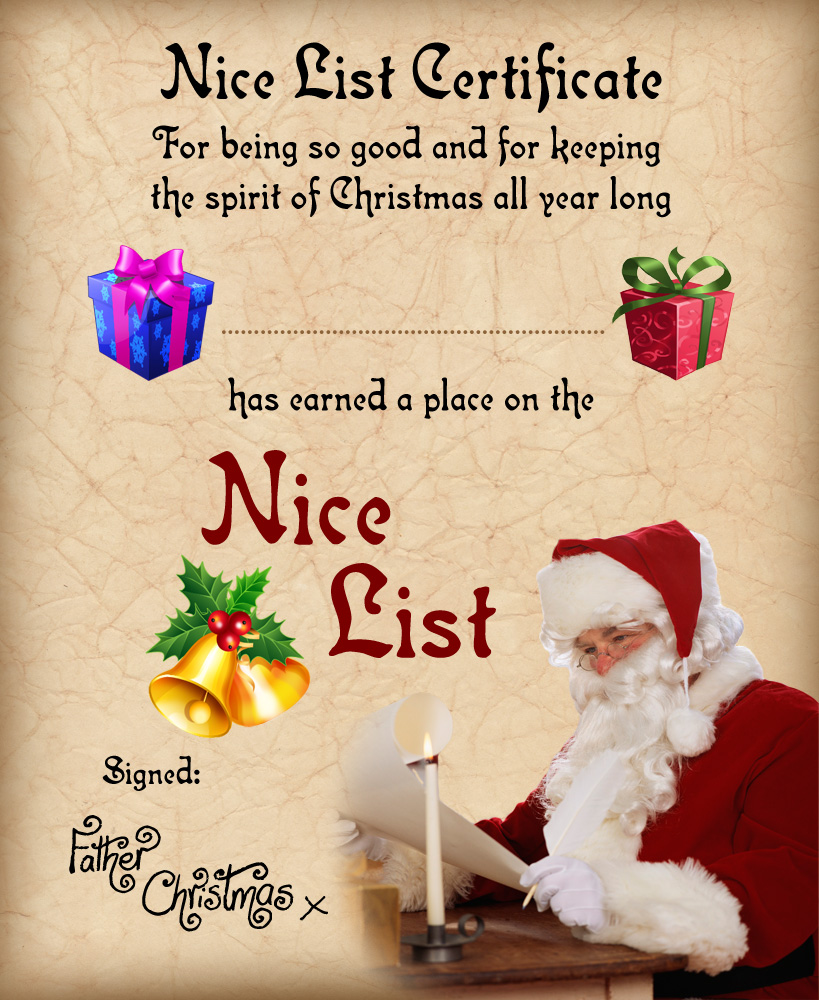 Printable Nice List certificate from Santa Claus