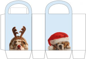 Amusing Christmas party bag with cute dogs on to print out and make