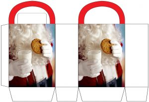 Free printable party bag showing a magical picture of Santa holding a glass of milk and a cookie