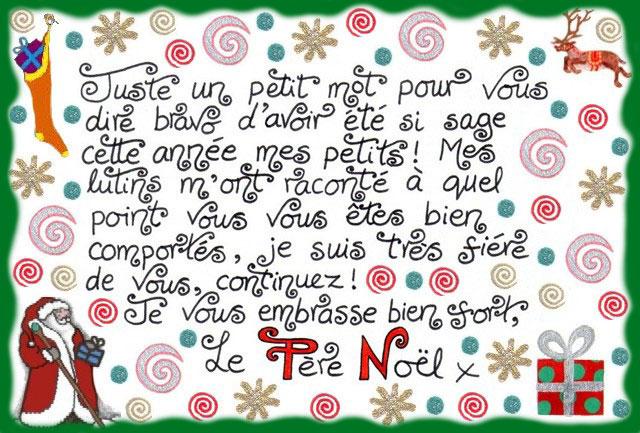 mot de noel Lettre du Père Noël: Juste un Petit Mot Pour Vous Dire Bravo  mot de noel
