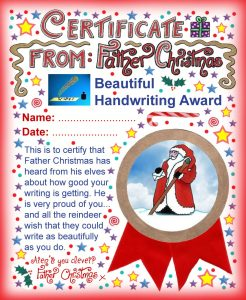 A printable award from Father Christmas saying well done for your beautiful handwriting.