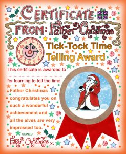 Printable Santa certificate to say well done for learning to tell the time.
