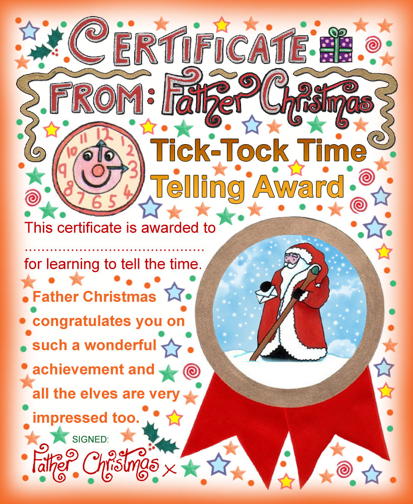 Father Christmas Certificate Tick Tock Time Telling Award Rooftop