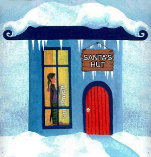 A picture of Santa's hut - where children sometimes visit him and the elves