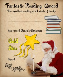 Award certificate for fantastic reading from Santa Claus