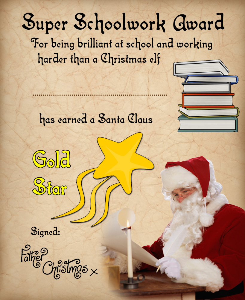 A certificate from Father Christmas saying well done for super schoolwork