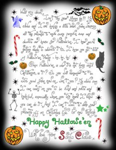 Printable note from Santa wishing a child a happy Halloween