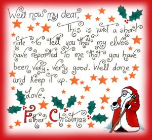 Handwritten note to print out from Father Christmas, telling a child that he or she has been very good.