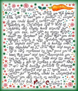 Printable note from Santa to give to a child before Christmas Eve, asking if he or she will leave a carrot out for Rudolph