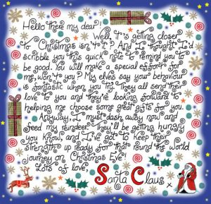 Printable note from Santa Claus reminding a child to be good
