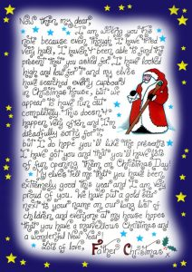 Note from Father Christmas explaining that he hasn't managed to find the present a child asked for