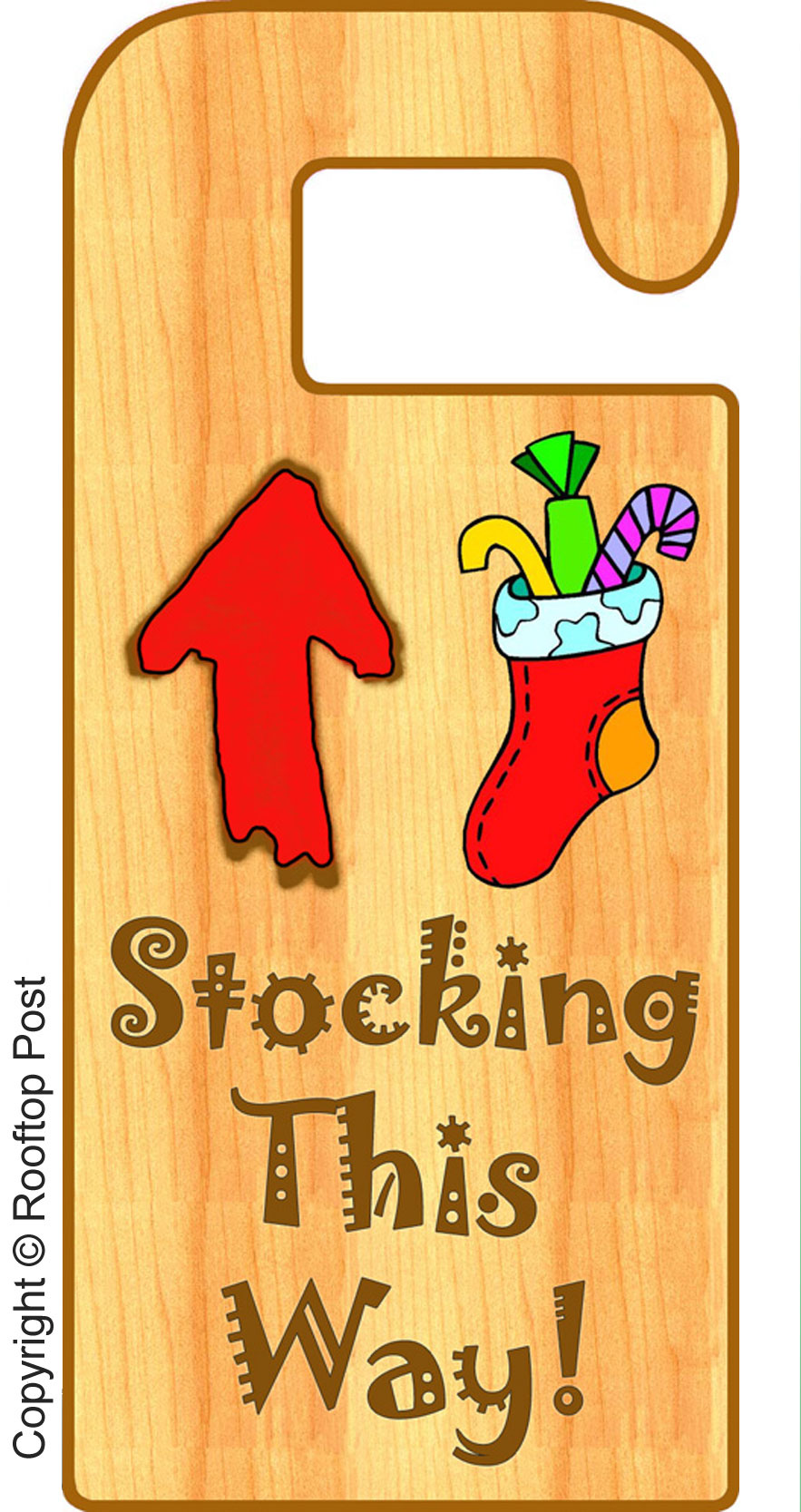 Printable door hanger for Christmas Eve telling Santa there's a stocking to fill