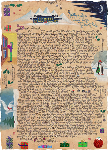 An illustrated letter from Santa explaining how he ended up with a rather unusual gift.