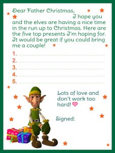 Template of a letter to Father Christmas with a colourful elf design