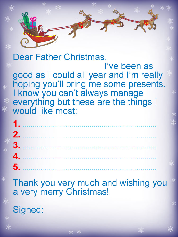 Letter to father christmas presents i would like most rooftop free printable letter to father christmas spiritdancerdesigns Image collections