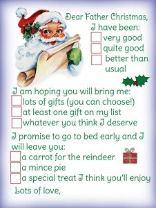 Printable template for sending a letter to Father Christmas, letting him know what presents to bring
