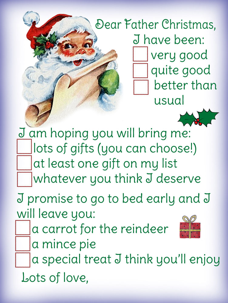 Letter to father christmas template multiple choice rooftop post printable template for sending a letter to father christmas letting him know what presents to spiritdancerdesigns Images