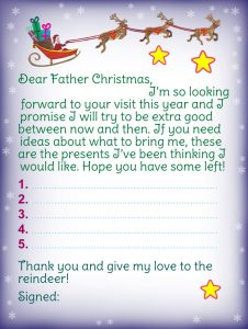 Template for letter to Father Christmas and Christmas list, promising to be good
