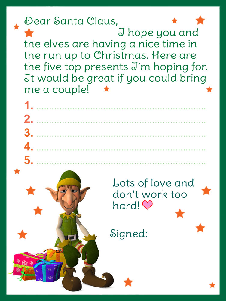 letter-to-Santa-Claus-elf-template Old Fashioned Letter To Santa Template Free on